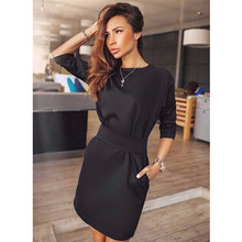 2017 Women Fall Fashion Casual Mini Dress Broadcloth Solid Color Short Sleeve O-neck Women Dress Two Side Pocket Black Dresses
