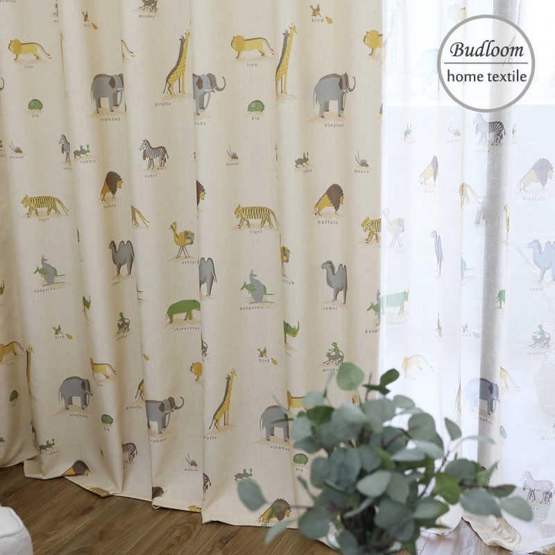 New animals flax texture curtains for kids room camel ostrich tiger elephant lovely curtains for baby room cartoon window drapes