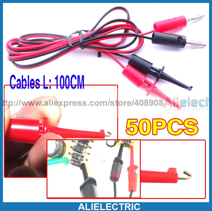 50pcs Banana Plug to Test Hook Cable Grabbers Probes IC<br><br>Aliexpress