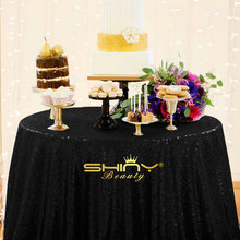 ShinyBeauty Polyester / Sequin 120 Round 10ft black Table Cloth Fabric / tablecloth for Hotel Party Wedding Tablecloth Dining(China)