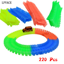 220 Pcs Car Tracks Bend Flex Glow in the Dark Assembly Toy Race Track + 1pc LED Car(China)