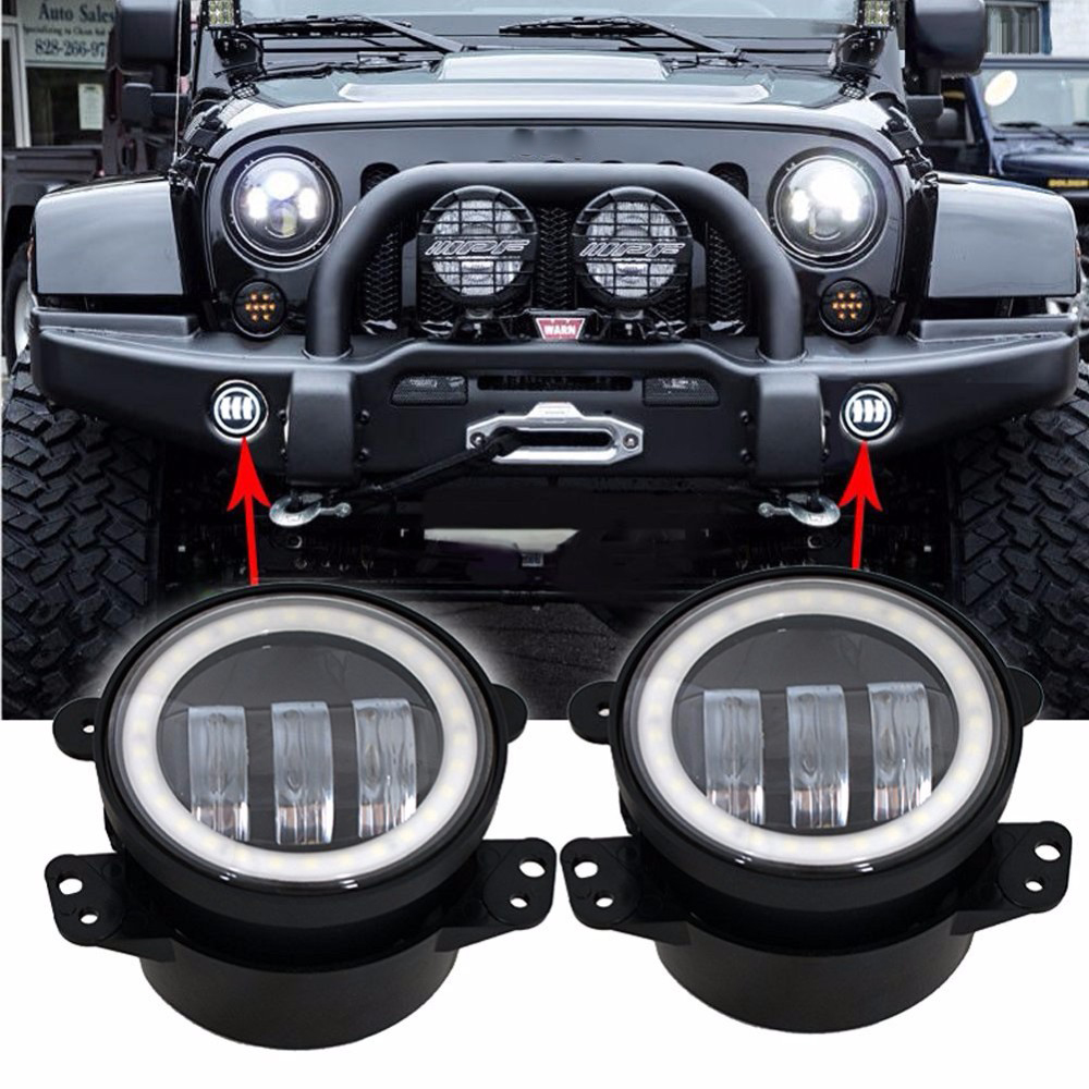 2pcs LED Chips Car Fog Lights 4 inch fog lights Cool White 6500K For Jeep Wrangler for Dodge Magnum Chrysler for Dodge Journey<br>