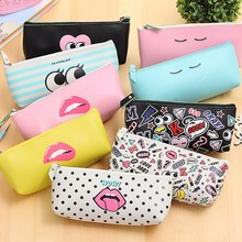 Cute Modern girl PU leather school pencil case for girl Kawaii Candy color Lip Dot pen bag stationery pouch school office supply(China)