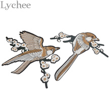 Lychee 1 pair Bird Embroidered Patches Iron on or Sewing Parches Brooch for clothes Applique Embroidery DIY Suppliers Crafts
