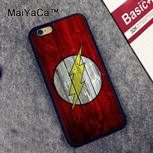 MaiYaCa Flash Logo on Wood Printed Soft Rubber Mobile Phone Cases For iPhone 6 6S Plus 7 7 Plus 5 5S 5C SE 4 4S Capa funda coque(China)