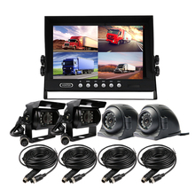 "FREE SHIPPING 4Pin 4CH 9"" Quad Split Car Reversing Monitor Backup Rear Front Side View Car Duty Metal Camera Kit for Truck Bus"