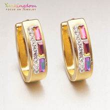 Yunkingdom shiny colorful crystal hoop earrings for women ladies fashion jewelry stainless steel UE0073