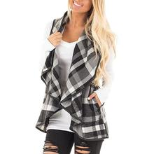 Casual Basic Plaid Women's Coats Sleeveless Cardigans Jackets Loose Irrgular Hem Large Size 2XL 2017 Autumn Fashion Coat WS3685Z(China)