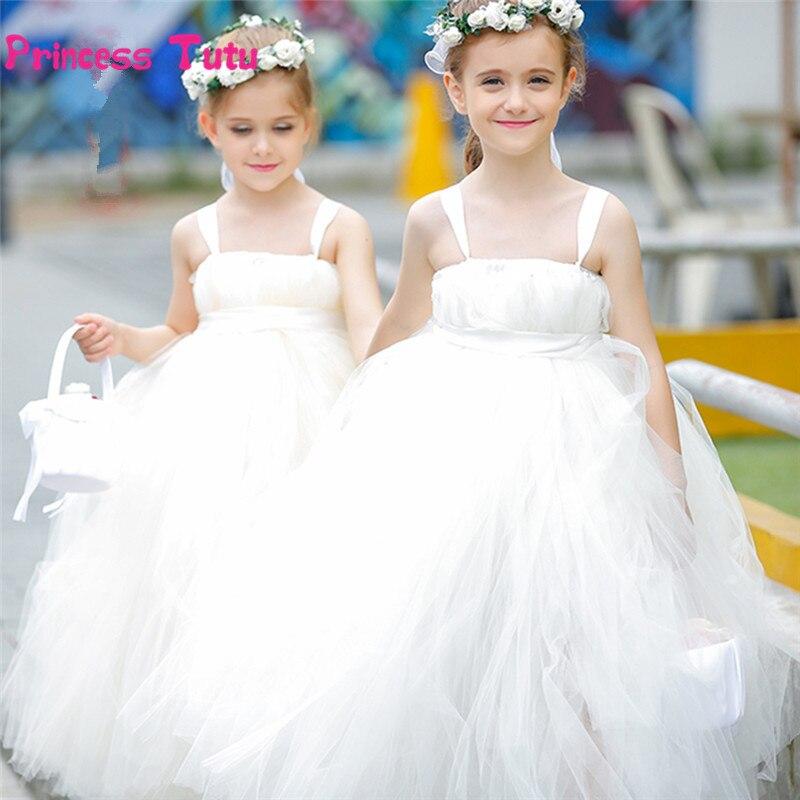 Long Trailing Girls Tutu Dress Tulle Wedding Flower Girl Dresses White Children Ball Gown Kids Prom Pageant Birthday Party Dress<br>