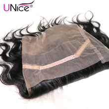 UNice Hair Company 360 Lace Frontal Malaysian Body Wave Human Hair Free Part Closure Swiss Lace Remy Hair 1 Piece 10-20inch