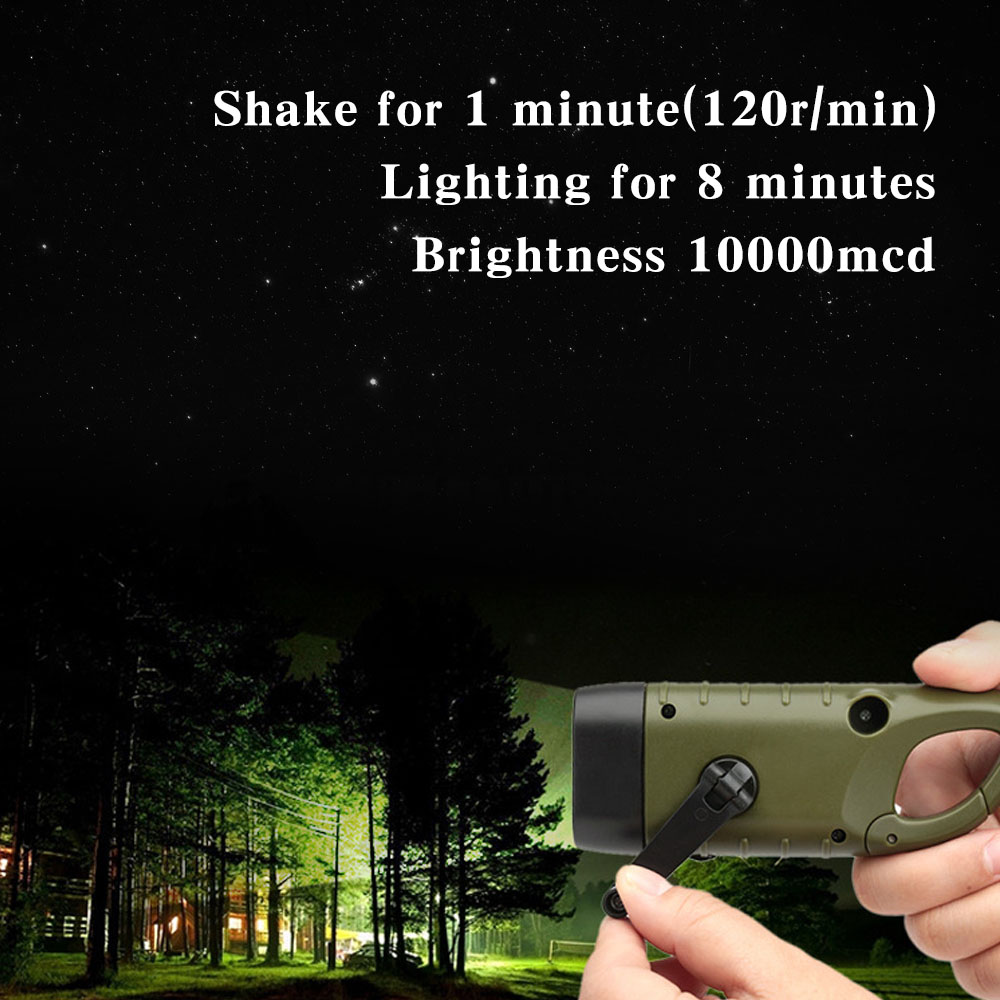 Professional Portable LED Hand Crank Dynamo Solar Power Flashlight Torch for Outdoor Camping Mountaineering Traditional Design (9)