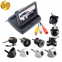 "2In1 Car Parking System Kit 4.3"" TFT LCD Color Monitor Foldable HD Screen Display + Auto Backup Rear View Camera Waterproof"