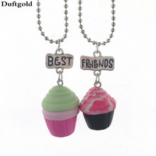 Sweet Cute Soft Paper Cup Ice Cream Clay Necklace Cake Necklaces Pendant 2pcs/set Best Friends Children Kids Jewelry Duftgold(China)
