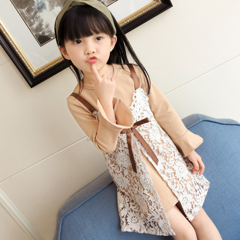 New Fashion Autumn Winter Girls Lace Sling Dress+long Sleeve T-shirt 2 Pieces for Kids Clothes Party Casual Warm Clothing Set<br>