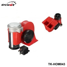 Car Motorcycle Truck 12V Red Compact Dual Tone Electric Pump Air Loud Horn Vehicle Siren For Ford Mustang 86-93 GT LX  TK-HOM043
