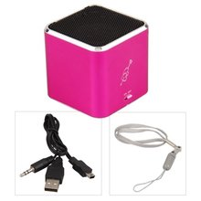 New Hot Fuschia Mini Loudspeaker Speakers USB Micro SD TF Card For MP3 Player(China)