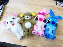 Cute 3D Plush Doll Phone Case Furry Teddy Bear Stitch Toy Cover Fundas For iPhone 4 4s 5 5S SE 5C 6 6s 6Plus 6s Plus 7 7 Plus