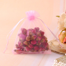 9x12cm Pink Color Organza Jewelry Gift Packaging Bags Decoration Gift Candy Bags Promotional Gifts Customized Logo 100pcs/lot(China)