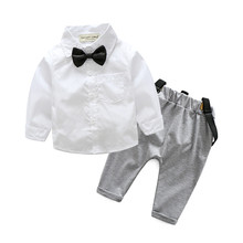 new design baby boys clothing set white shirt + suspender newborn Long sleeve Bowknot gentleman infant clothes suit