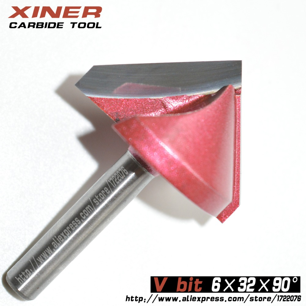 6mm*32mm*90degree,Freeshipping,CNC Solid Carbide Milling Cutter,3D V bit,woodworking tool,MDF,PVC,acrylic,Chamfering cutter<br><br>Aliexpress