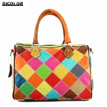 BICOLOR Unique Edition Handmade Lattice Pattern Handbag for Ladies Shoulder bag Genuine Leather handbags Woman Crossbody Bag New