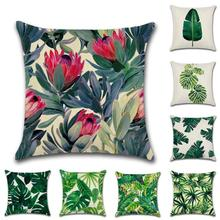 Rainforest Leaves Africa Linen Tropical Plants Hibiscus Flower Throw Pillow Case Chair Sofa Cushion Cover Home Decors 3(China)