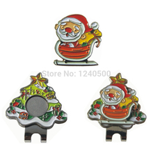 Free Shipping Brand New Christmas Santa Claus Golf Ball Marker Plus Golf Hat Clip, Magnetic Ball Mark.(China)