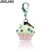 JINGLANG New Design Fashion High Quality Colorful Rhinestone Cake Pendants Lobster Clasp Charms For Key Chain Accessories