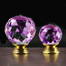 In Brass K9 Purple Crystal Handles Fittings for Furniture Jewelry Box Kids Room Door Pull Knobs