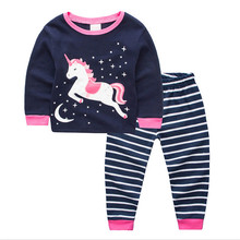 Jumping baby unicorn clothing sets girls cotton children's clothes long sleeve home wear sleep kids top & bottom 2 pcs suits(China)