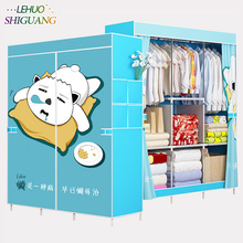 Family Wardrobe Non-woven Fabric Steel frame reinforcement Standing Storage Organizer Detachable Clothing Closet furniture(China)