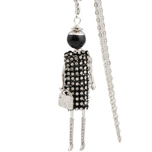 YLWHJJ new women long chain necklace fashion black doll Pendant baby lovely hot Girls Rhinestones Statement jewelry brand(China)