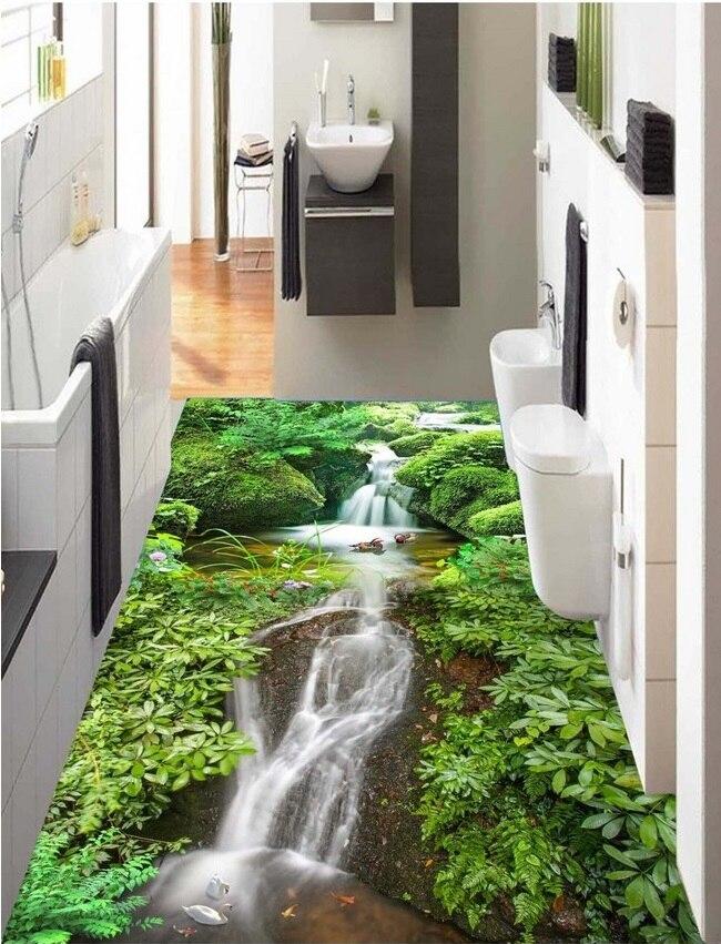 3d pvc flooring custom photo waterproof wall paper sticker Hd mountain stream water decoration painting wallpaper for walls 3d<br>