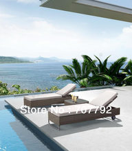 2014 Rattan outdoor furniture double people sunbed modern chaise lounge(China)