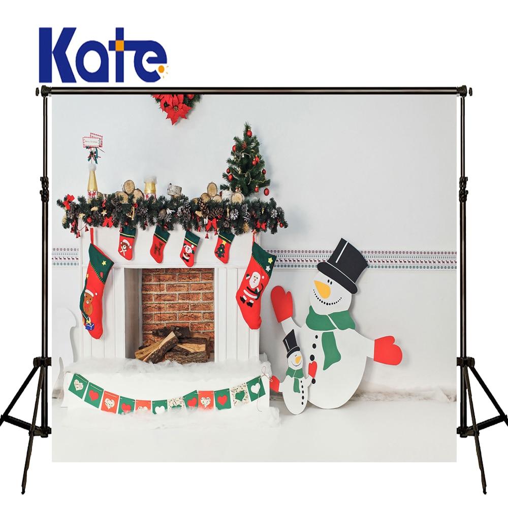 KATE Photo Background Christmas Decorations For Home White Brick Wall Backdrop Cartoon Boneco De Neve for Children Photo Studio<br>