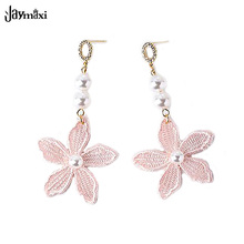 Pink Lace Earrings Flower Petals Simulated Pearl Jewelry Elegant Girl's Drop Earrings Bijoux Gifts for Love E71564