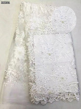 African white wedding lace tulle fabric with stones high quality french beaded net lace fabric for women dress Nigerian laceXN87