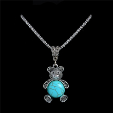 Wholesale Trendy Lovely Bear Pendant Necklace Zinc Alloy Crystal Natural Stone Necklace Long Sweater Chain TL192 FREE SHIPPING(China)