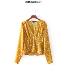 Buy Womens tops blouses yellow top long sleeve blusas v-neck shirts clothes korean fashion clothing summer shirt 2018 for $12.99 in AliExpress store