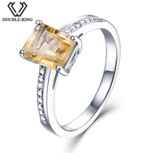 DOUBLE-R 1.6ct Natural Citrine Real Diamond 925 Sterling Silver Gemstone Ring Embroidery(China)