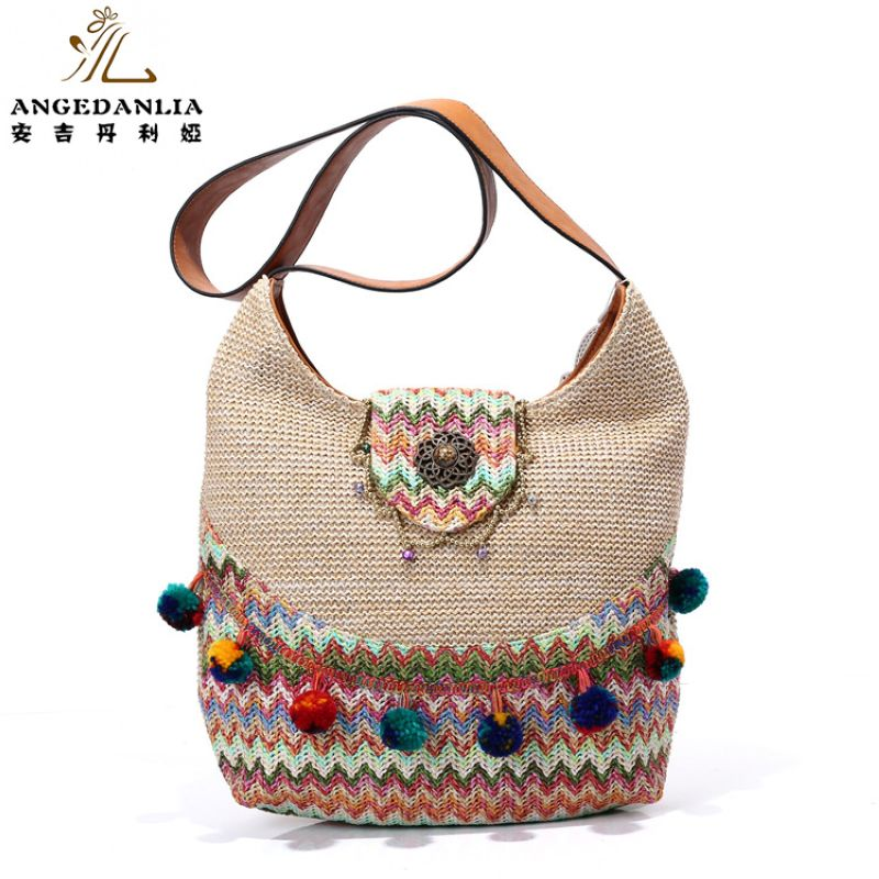 women Bohemian Bright Summer Beach Ladies ColorfulHandbag shoulder bag Cotton Fabric Canvas national ethnic massager bags <br>