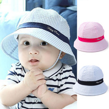 Spring Summer Outdoor Baby Hats Bonnet Infant Girls Boys Cotton Sun Beach Bucket Hat Toddler Kids Stripe Sun Cap(China)