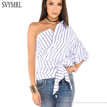 Svymrl 2017 Women Blue Striped Summer Irregular shirts One Shoulder V-neck Wrap Around Bow Ruffle Tie Waist Slim Blouses Tops
