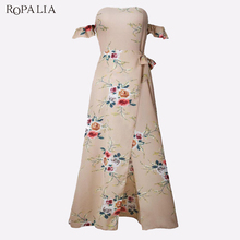 Buy ROPALIA Brand Dress Women Sexy Printed Strap Halter Side Slit Dress Summer Beach Casual Long Maxi Dresses Vestidos