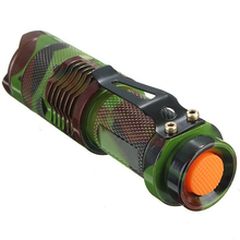 New Trendy Mini LED Flashlight Q5 2000 Lumen Camouflage Torch 3 Model Focus Zoom Light
