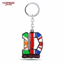 Wholesale One Direction 1D Keychain Rock Band 6x4.8cm One Direction Metal Pendants Key Ring for Fans Chaveiro Manufacturer Price(China)