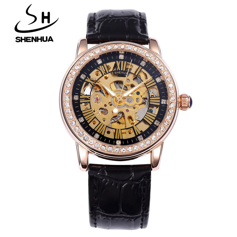 2017 Shenhua Top Brand Luxury Crystal Mechanical Watches Women Fashion Rose Gold Automatic Mechanical Skeleton Watches Ladies <br><br>Aliexpress
