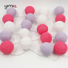 YIMIA 20/set White/Rose Red/Purple Cotton Ball Lights LED String Fairy Christmas Holiday Lights Garland Wedding Party Decoration