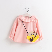 2017 Spring Casual New Baby Girls Blouse Cute turn down ruffles Collar Shirt Long Sleeve Blouse Girls pink purple Tops with bag