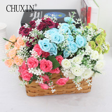 15 heads/bouquet Cute silk small rose flower  artificial mini rose home vase decoration Photo props 1 bouquet price